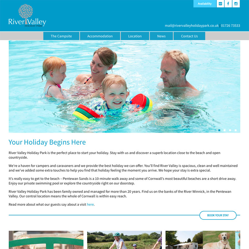 River Valley Holiday Park New Website Home Page